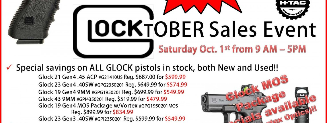 GLOCKtober Sales Event Sat. Oct. 1st 9 am – 5 pm